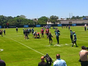 Jaguars WR Coach Jerry Sullivan coaches the receivers between plays